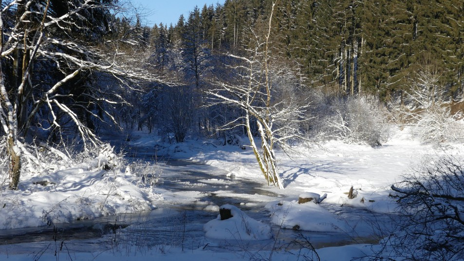 l'Ourthe gelée sous la neige