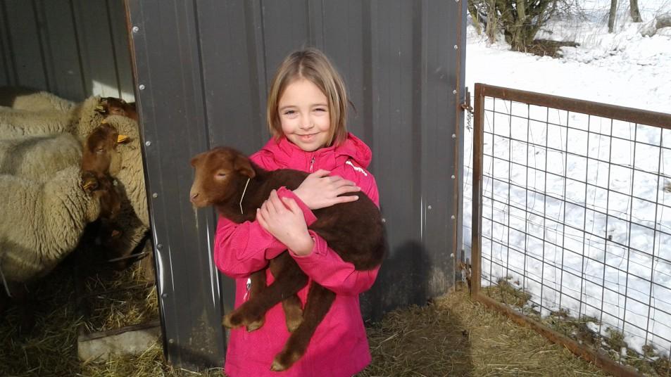 une jeune fille qui tient un jeune veau