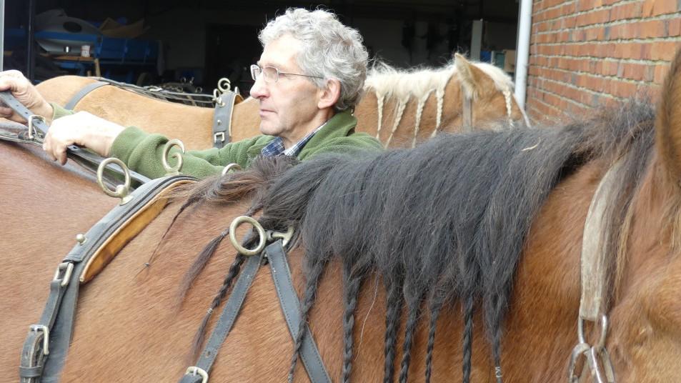 un homme et ses deux chevaux