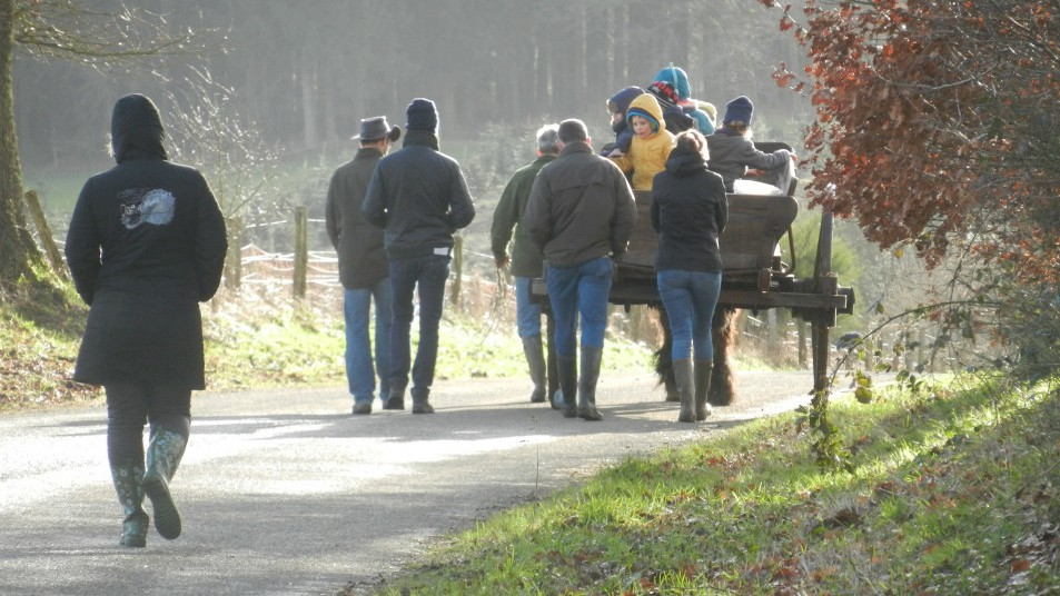 un groupe de personne se baladant avec un cheval et une charrette